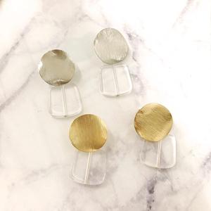 Eco 透明壓克力拼接金屬夾式耳環(螺旋夾)/2色