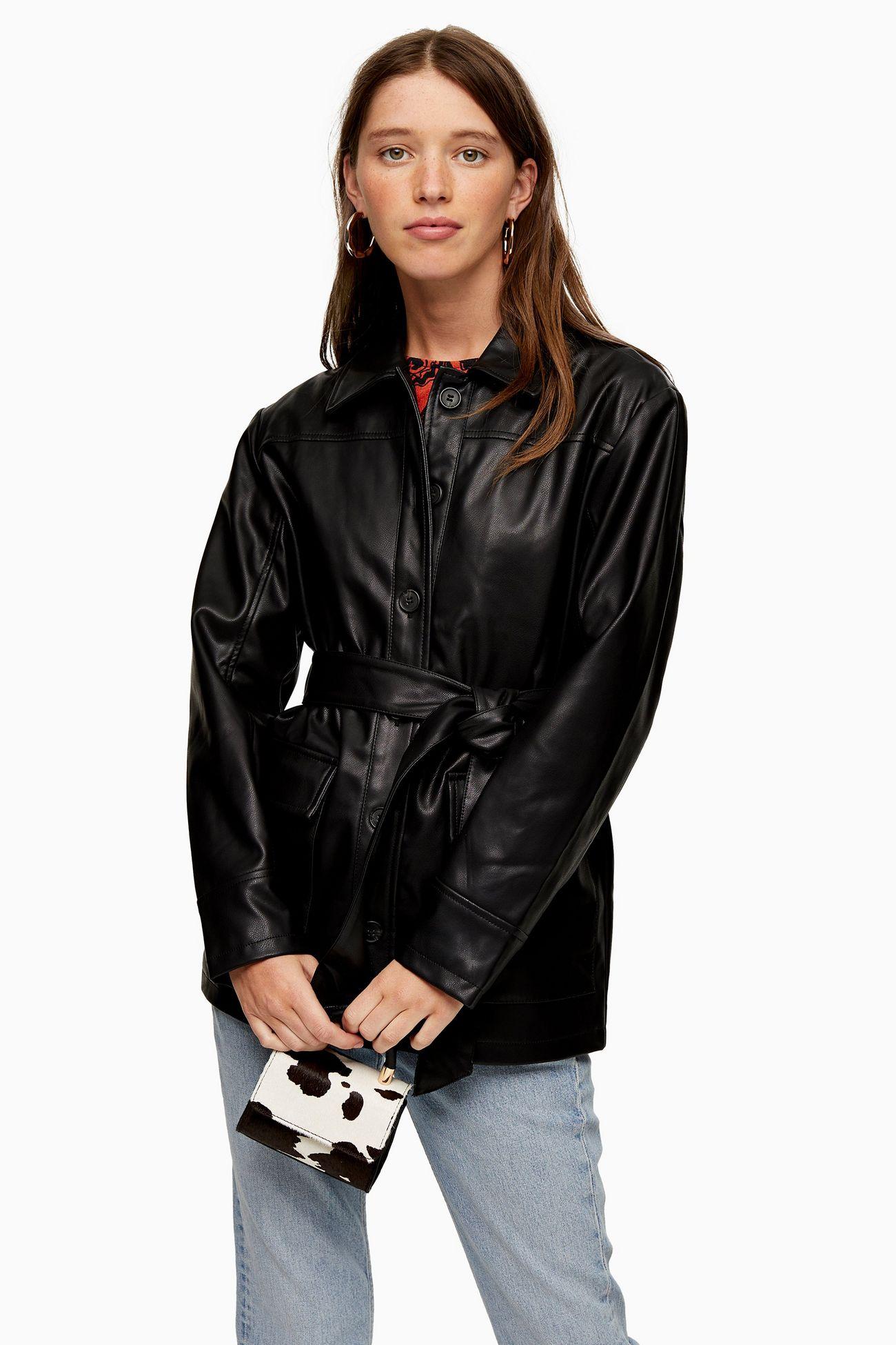 率性皮革襯衫外套
