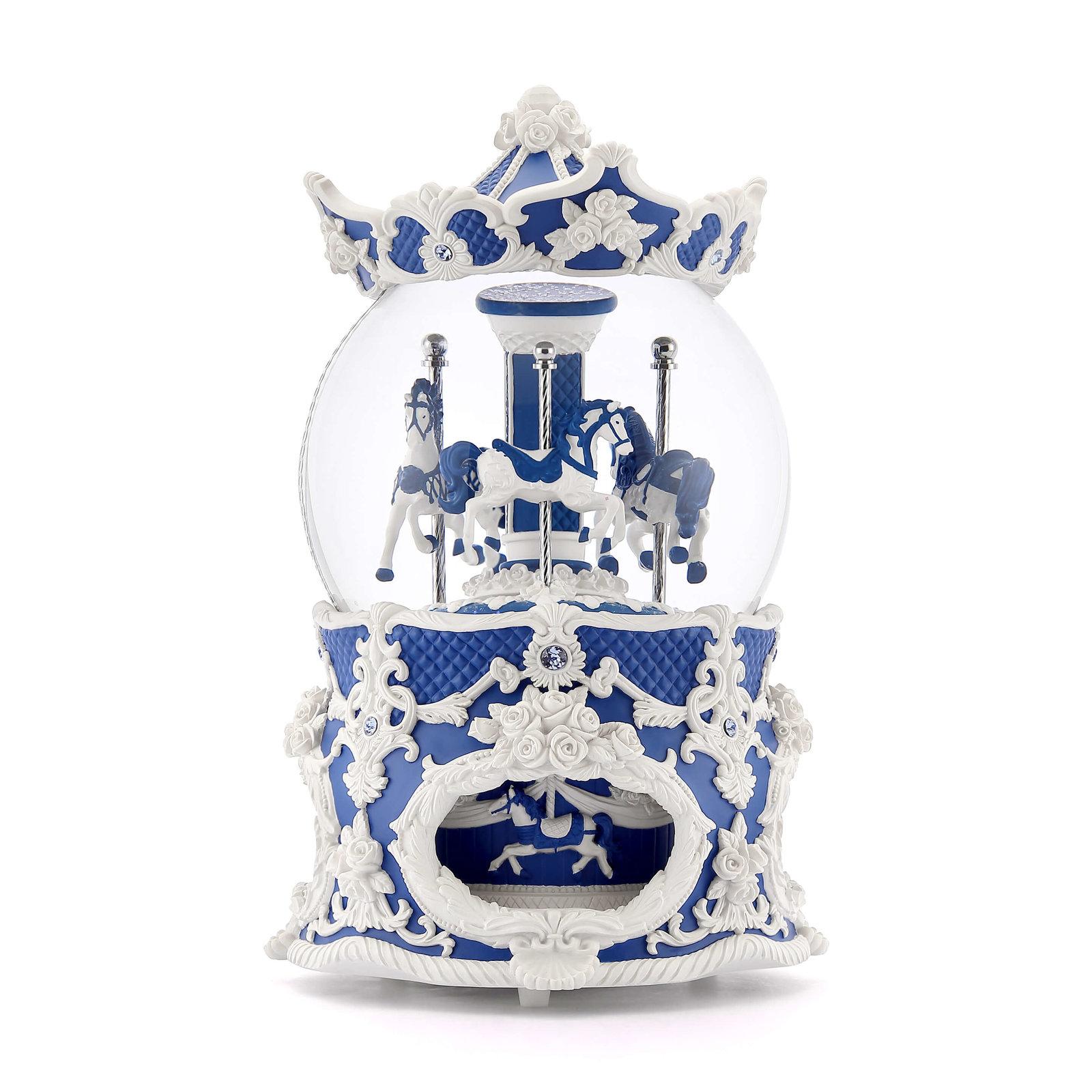 給藍色的你:JARLL 洛可可旋轉木馬水晶球音樂盒