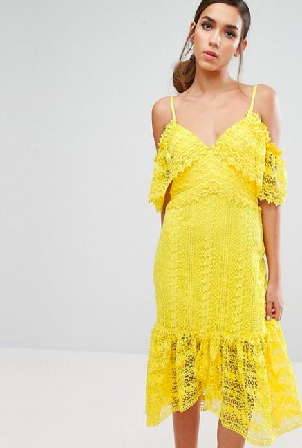 渡假風的黃色洋裝