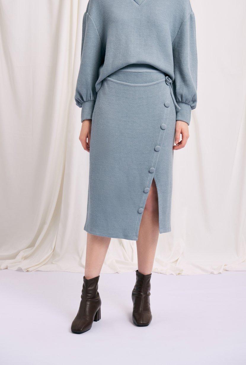 復古開扣針織鉛筆裙