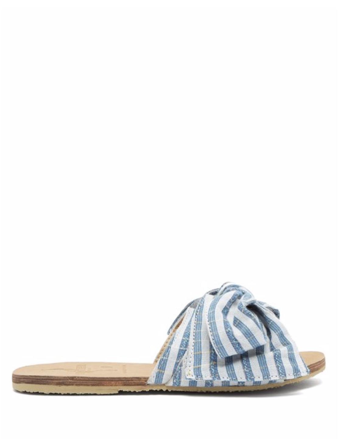 也是三折:夏天度假風的藍色條紋涼鞋
