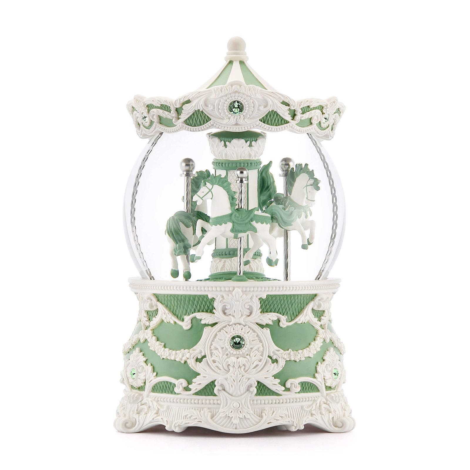 給綠色的你:JARLL 洛可可旋轉木馬水晶球音樂盒