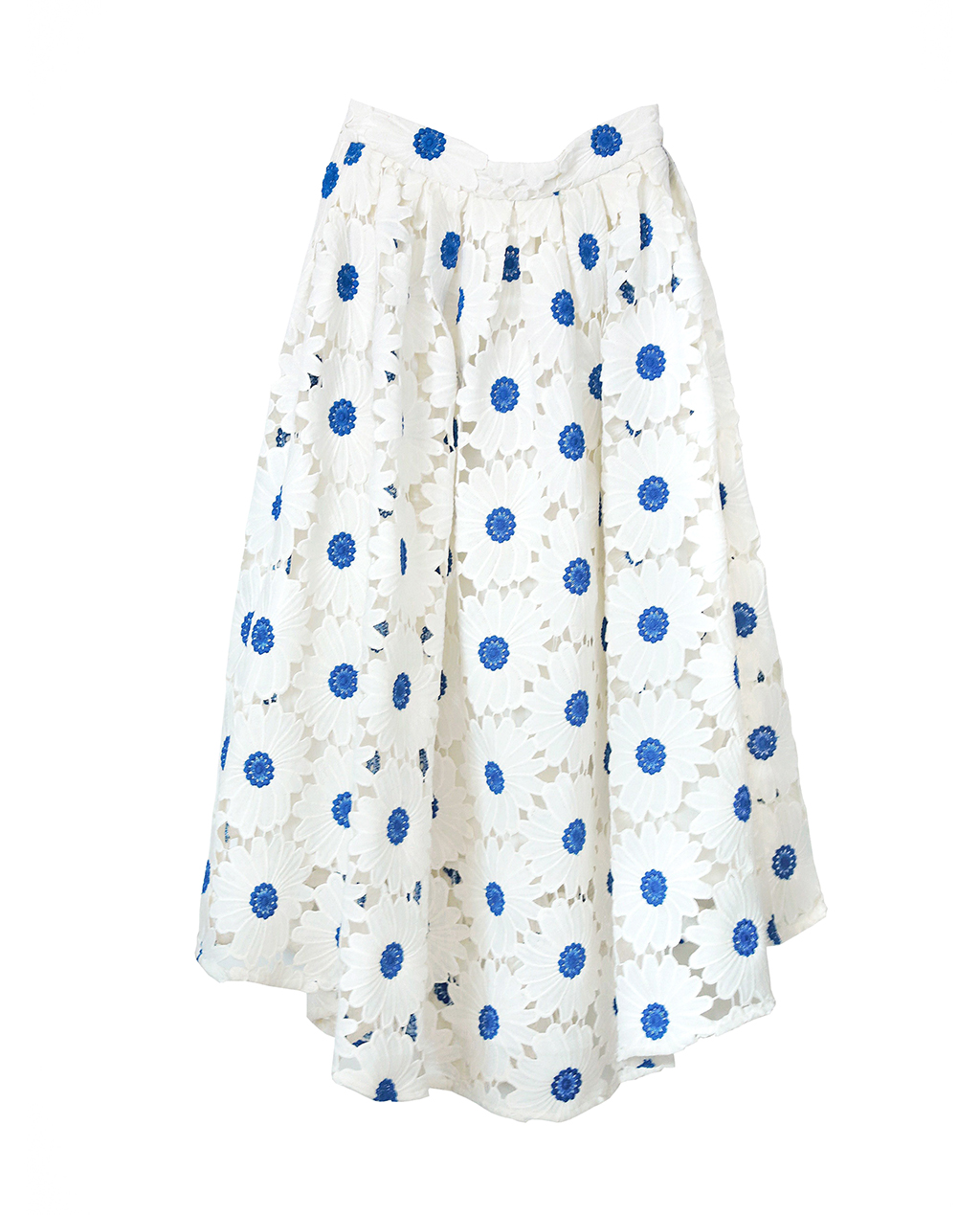 Blue Daisy Embroidered Midi Skirt (M)