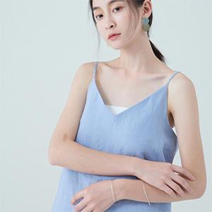 LUEUR:麻料細肩帶背心(寧靜藍)