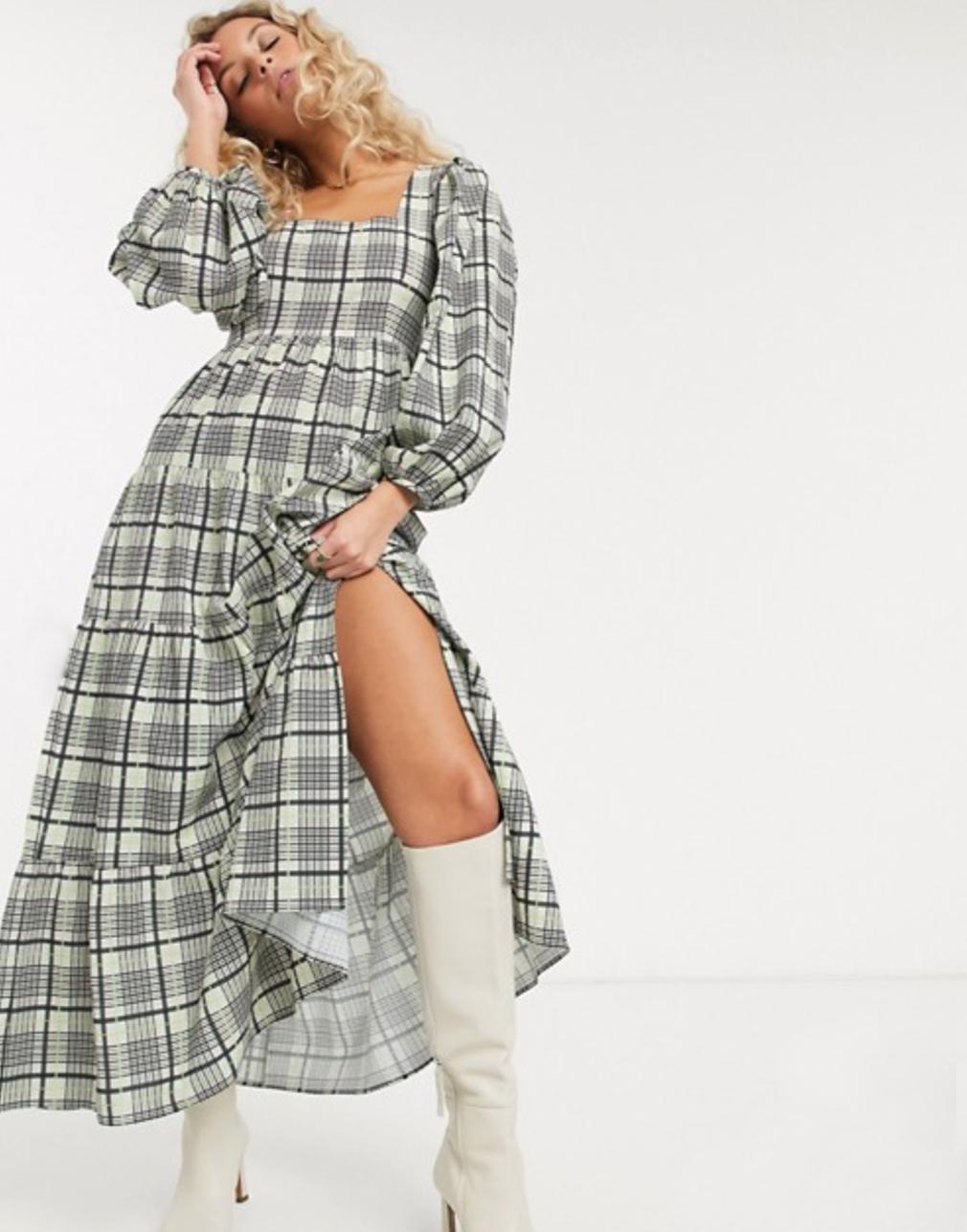 復古格紋洋裝