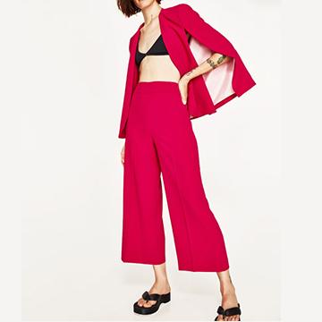 ZARA:桃紅寬褲
