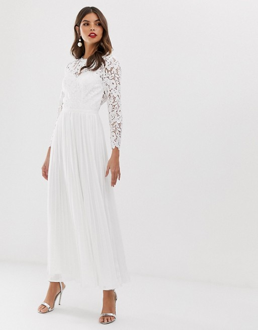 lace maxi dress with scalloped back in white