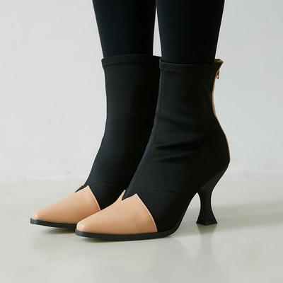 ROCOSIX 皮革拼接布料POINT高跟踝靴