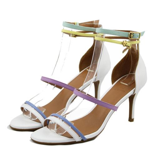 超美的馬卡龍細帶高跟涼鞋