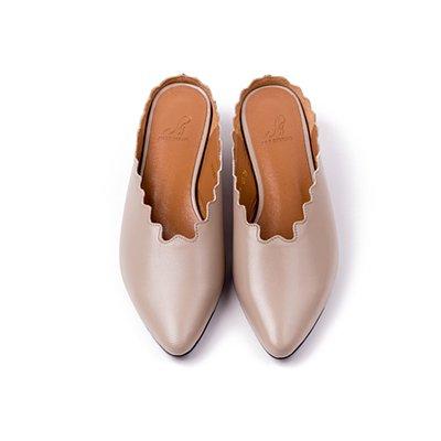 S&T STUDIO:LULU 花邊穆勒鞋 (灰棕)