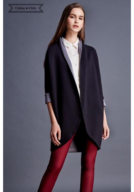 優雅雙色翻領針織外套