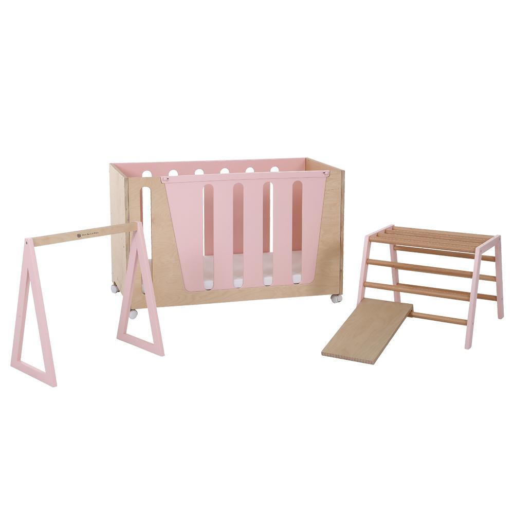 適合小女孩:玫瑰粉Woodpecker β多功能成長床